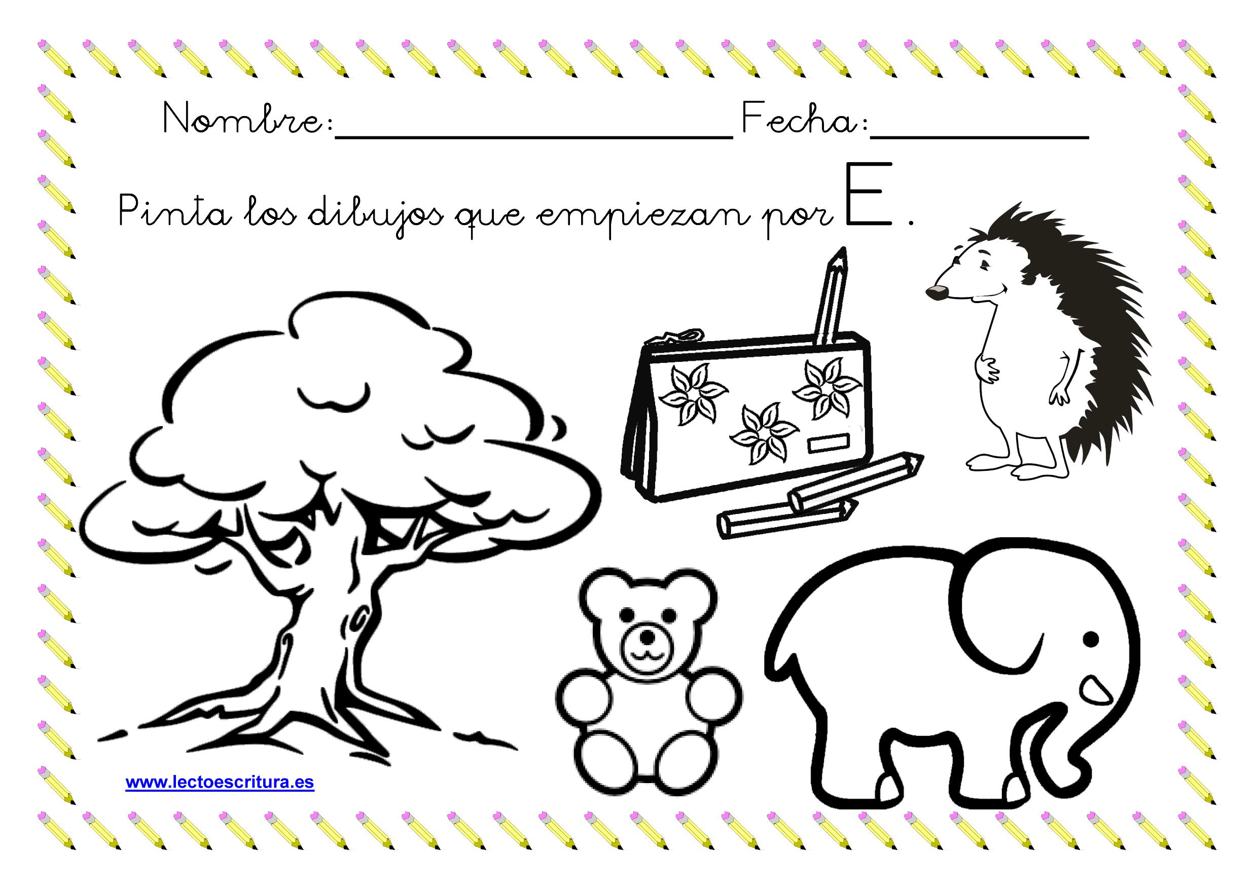 Www.lectoescritura.es. Ficha Colorear Dibujos Que Empiezan