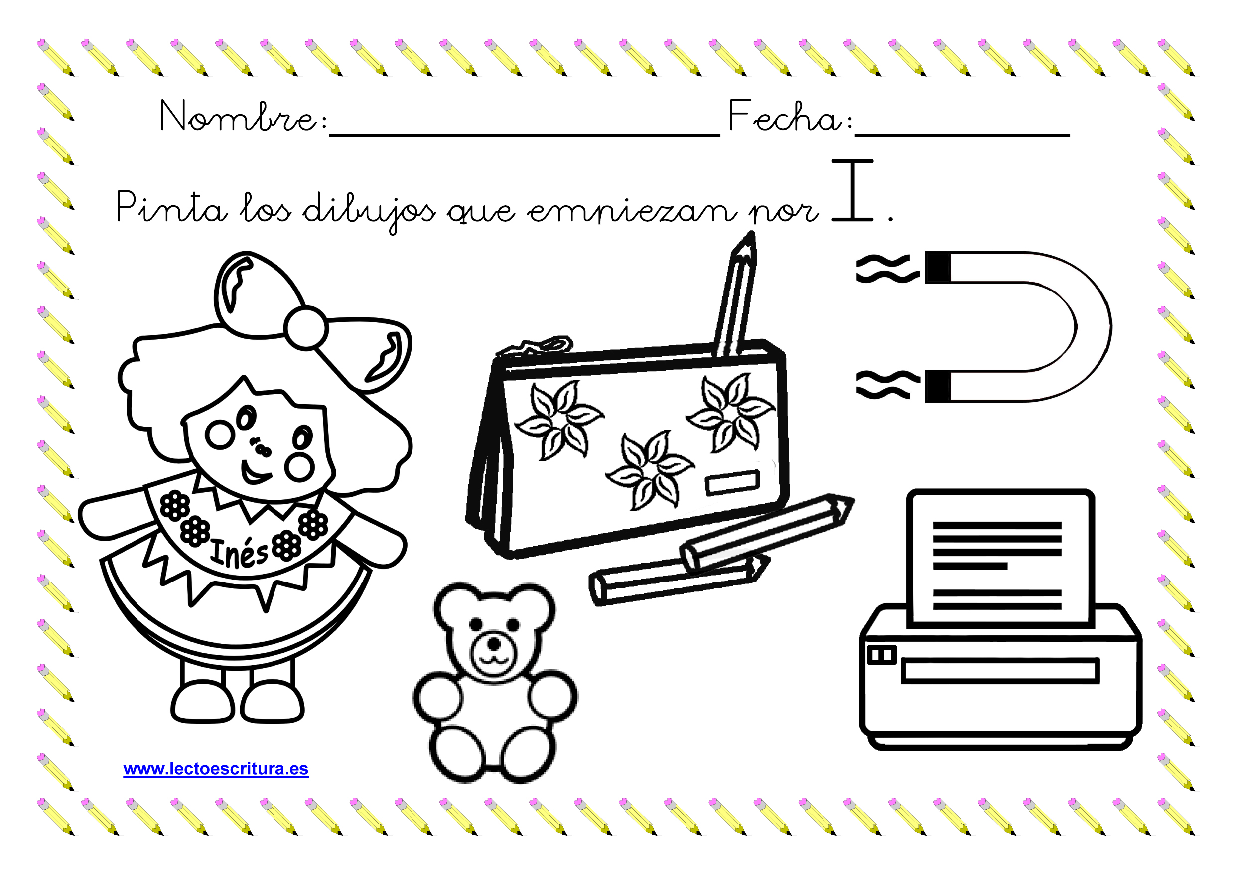 www.lectoescritura.es. Ficha colorear dibujos que empiezan por la ...