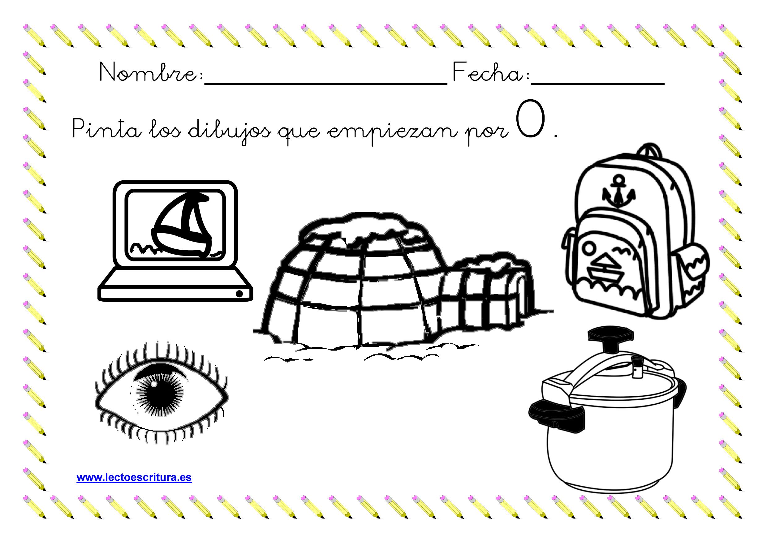 Fichas de colorear dibujos que empiezan por una letra