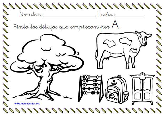 Wwwlectoescrituraes Ficha Colorear Dibujos Que Empiezan Por La