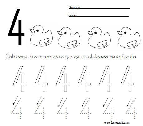 www.lectoescritura.es. Fichas de números. Ficha del número cuatro ...