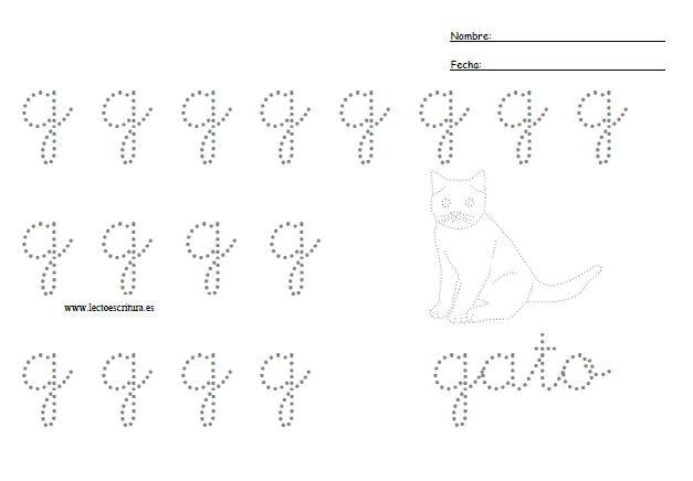 Preescritura. Letra g minúscula punteada. Imprimir ficha. Formato PDF
