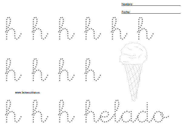 Preescritura. Letra h minúscula punteada. Imprimir ficha. Formato PDF