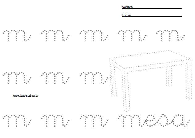 www.lectoescritura.es. Fichas de lectoescritura para imprimir. Fichas de  preescritura para imprimir. Ficha letra m punteada